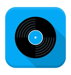 Music vinyl disc flat app icon with long shadow vector image vector image