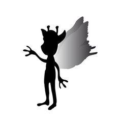 Pixie silhouette mythical animal fantasy vector