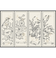 Retro Flower and Bird Banners vector image