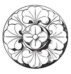 Romanesque boss rosette is a 13th century design vector