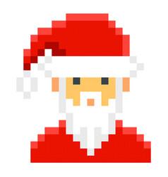 Santa claus pixel art cartoon retro game style vector