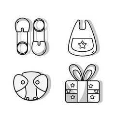 Set babies tool and present gift vector