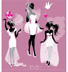Set of girls silhouettes dressing wedding gown vector