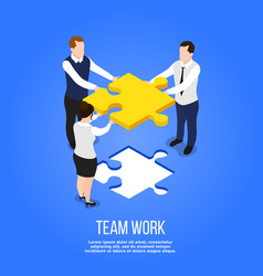 teamwork isometric puzzle concept vector image