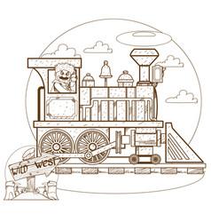the old steam locomotive railway transport vector image