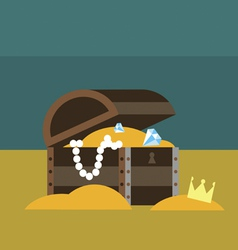 Underwater chest with gold vector