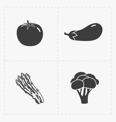 Vegetable black icon set on white vector