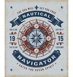 Vintage nautical navigator typography vector