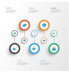 Weather flat icons set collection of storm rain vector
