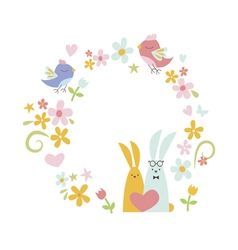 Wreath design with birds and rabbits vector