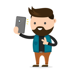 young bearded hipster man do selfie vector image vector image