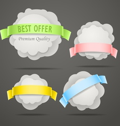 Abstract speech clouds with color ribbons vector