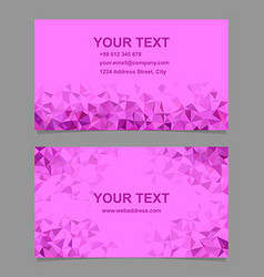 Magenta triangle mosaic business card template vector