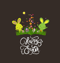 Colorful spring meadow eggs and easter bunny vector