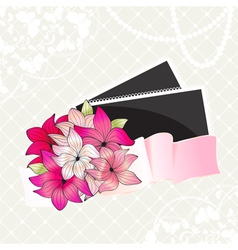 Greeting card with bouquet of pink flowers and pho vector image