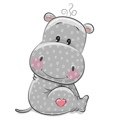 Cute cartoon hippo vector