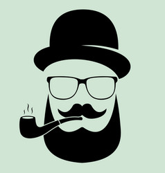 man with glasses and a hat with a pipe a vector image