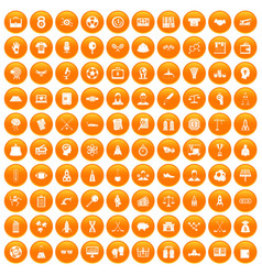 100 success icons set orange vector