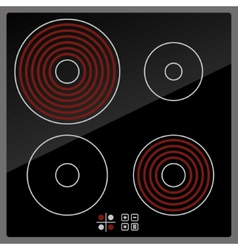 Kitchen electric hob with ceramic surface and vector