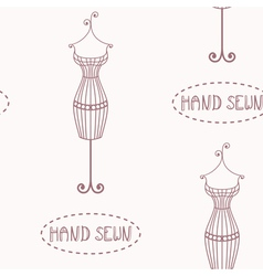 Vintage iron mannequin seamless pattern vector