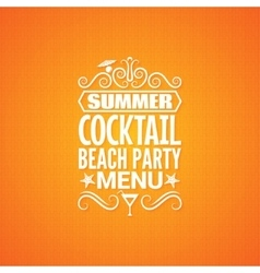 Summer cocktail party menu design background vector