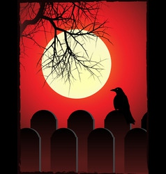 graveyard with black crow perched on grave stone w vector image