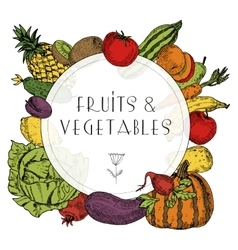 Healthy food fruits vegetables frame vector