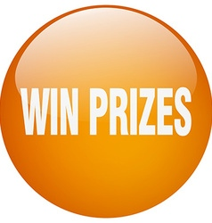 Win prizes orange round gel isolated push button vector