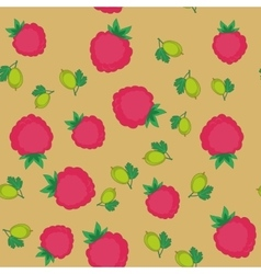 Berry and gooseberry cartoon seamless texture 646 vector