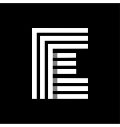 Capital letter e made of three white stripes vector