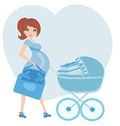 Pregnant woman with a blue baby carrier full of vector