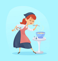 a of funny cute cartoon cook vector image vector image