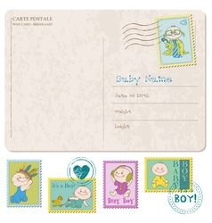 Baby Arrival Card with set of stamps vector image vector image