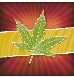 background with cannabis leaf and rasta colors vector image vector image