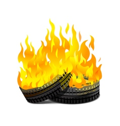 Burning tires vector image
