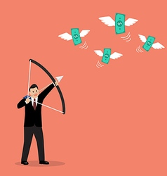 Businessman with a bow and arrow hitting the money vector image vector image