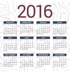 Calendar 2016 design template in vector