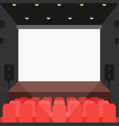 Cinema theater with seats and blank screen vector