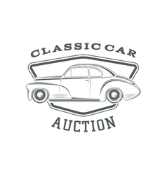 Classic car auction badge template vector image vector image
