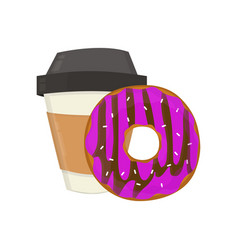 coffee cup and donut flat modern vector image vector image