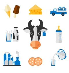 Dairy icons set - flat style vector