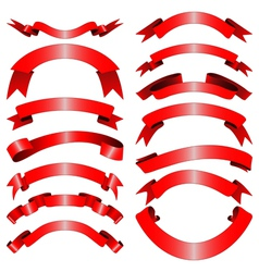 Decorative red ribbons vector image