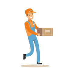 Delivery service worker running holding carton box vector