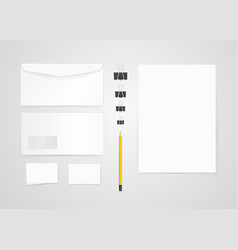 Different paper objects for branding mock-up vector