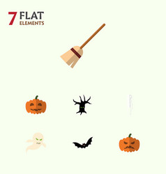 flat icon halloween set of broom skeleton ghost vector image vector image