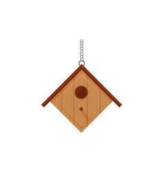 flat wooden birdhous vector image