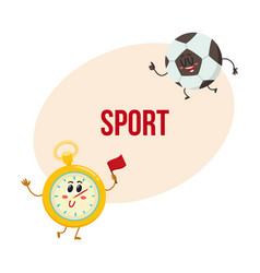 Funny stopwatch and football ball characters with vector