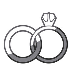 grayscale silhouette of wedding rings vector image