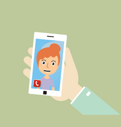 Hand holding smart phone and make a video call vector