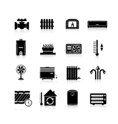 Heating icons black set vector